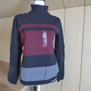 Karen Scott Colorblocked Cotton Turtleneck Sweater